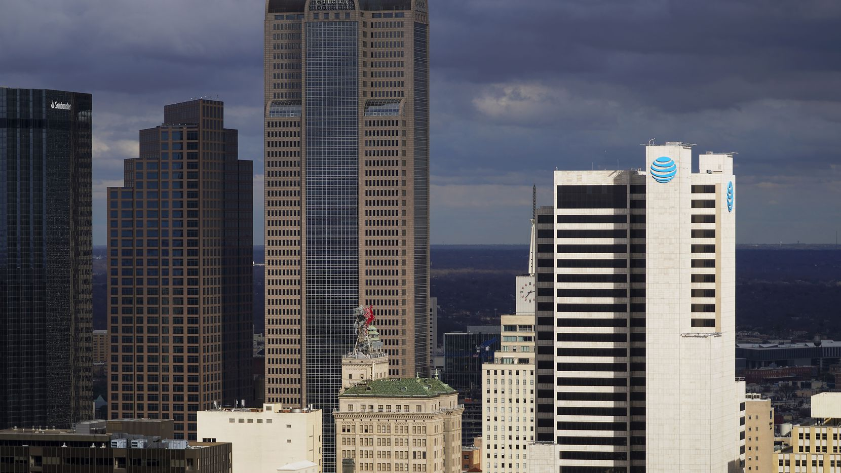 Comerica Bank Tower (left center) and AT&T headquarters building Whitacre Tower (right) as seen from the roof of Reunion Tower on Tuesday, Dec. 29, 2020, in Dallas. (Smiley N. Pool/The Dallas Morning News)