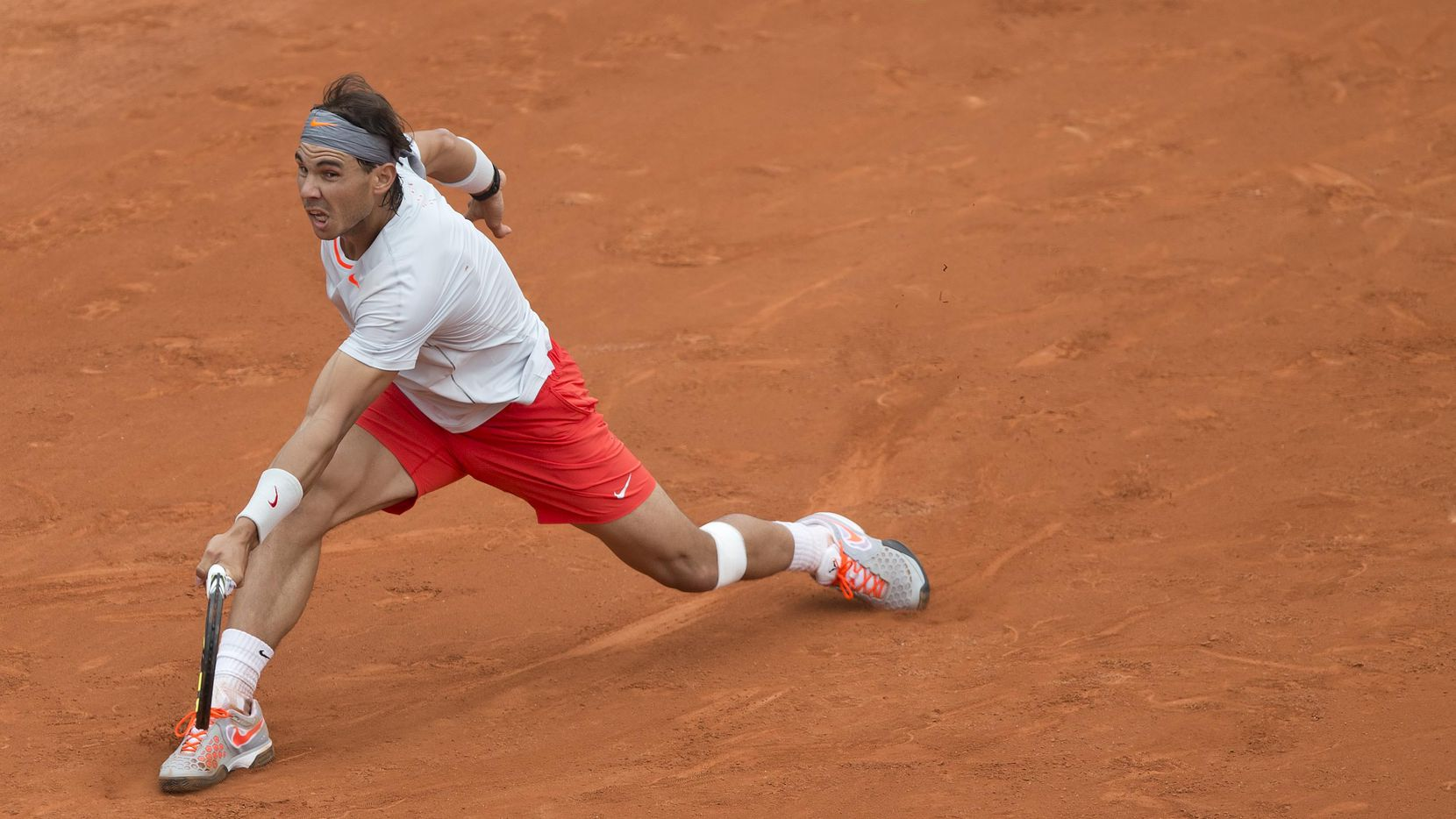 May 27, 2013; Paris, France; Rafael Nadal (ESP) in his match against Daniel Brands (GER) on day two of the 2013 French Open at Roland Garros.