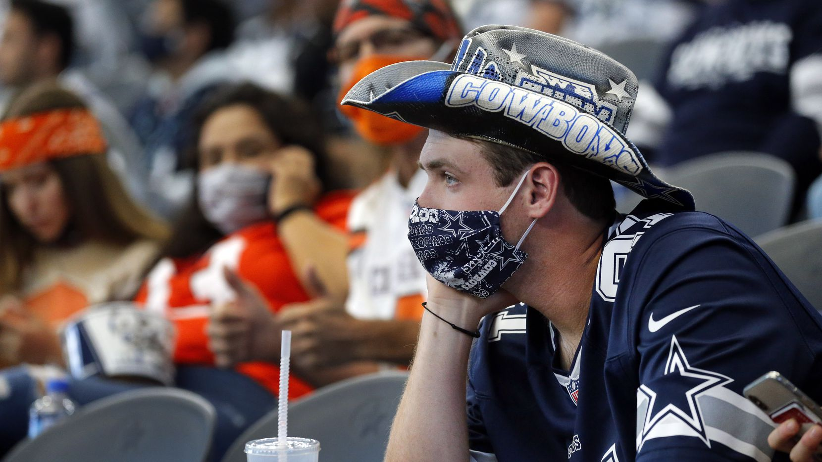 Dallas Cowboys fan Johnathan Threet of Lindale, Texas watches as his team falls further behind the Cleveland Browns during the third quarter at AT&T Stadium in Arlington, Texas, Sunday, October 4, 2020. The Cowboys lost, 48-39. (Tom Fox/The Dallas Morning News)
