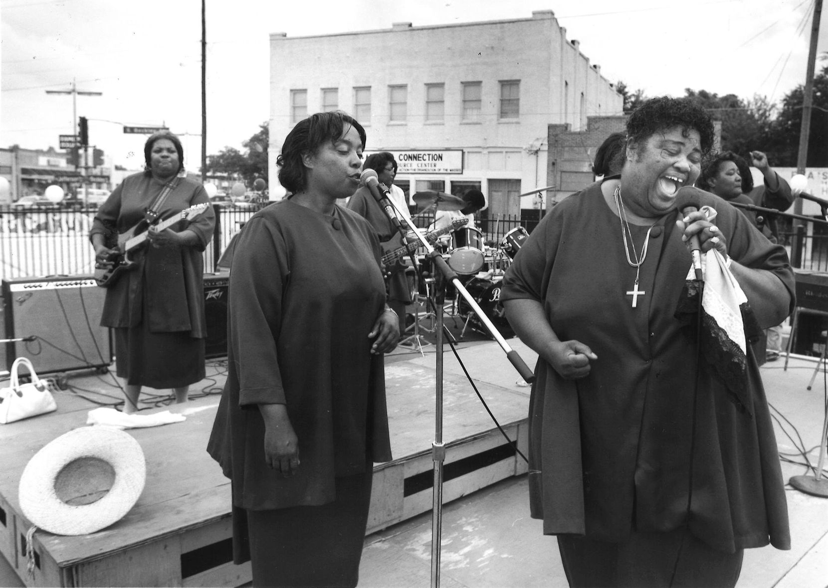 Rosetta Canady sang lead vocals and Minnie Wilson sang backup during a performance by the Starlight Gospel Singers of Greenville during the first Juneteenth Gospel Fest in Oak Cliff.
