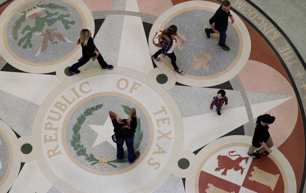 Guest pass through the rotunda at the Texas State Capitol, Monday, Jan. 7, 2019, in Austin, Texas. The 86th Texas Legislative session begins Tuesday.