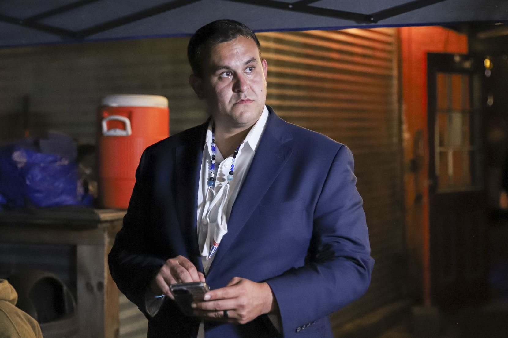 Adam Bazaldua, Dallas City Council District 7 candidate, awaits results during an election night watch party at Eight Bells Alehouse Dallas, Saturday, May 1, 2021. (Elias Valverde II / Special Contributor)