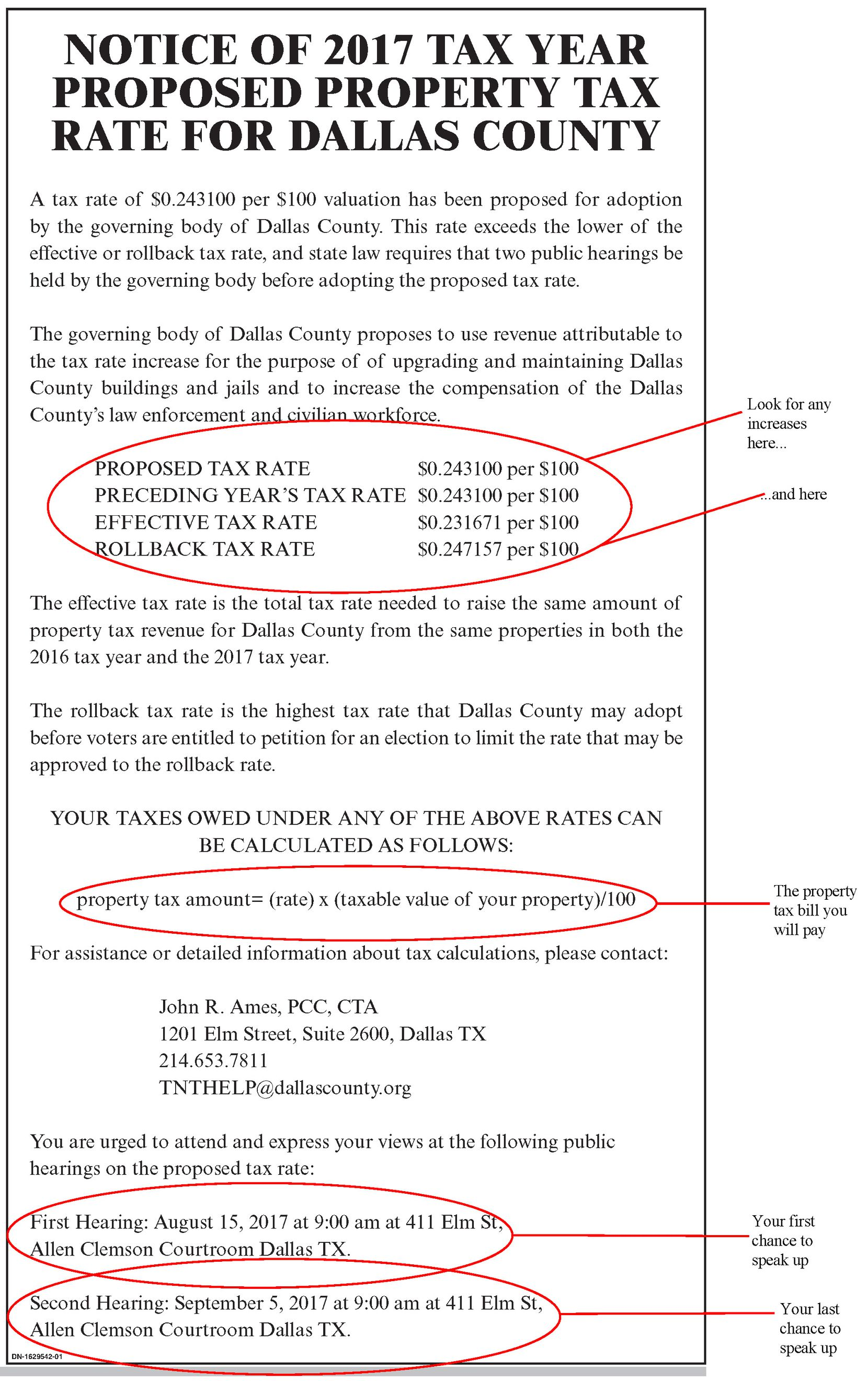 The Watchdog shows how to read a property tax rate notice using, as an example, this 2017 notice from Dallas County.