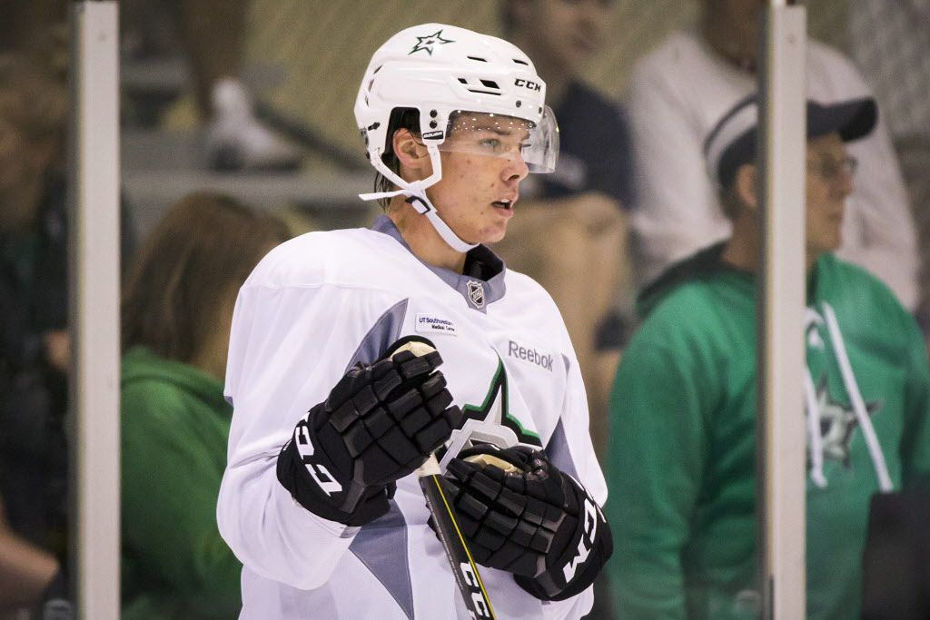 Defenseman Miro Heiskanen watches between drills on the first day of Dallas Stars development camp at the Dr Pepper StarCenter on Saturday, July 8, 2017, in Frisco. (Smiley N. Pool/The Dallas Morning News)