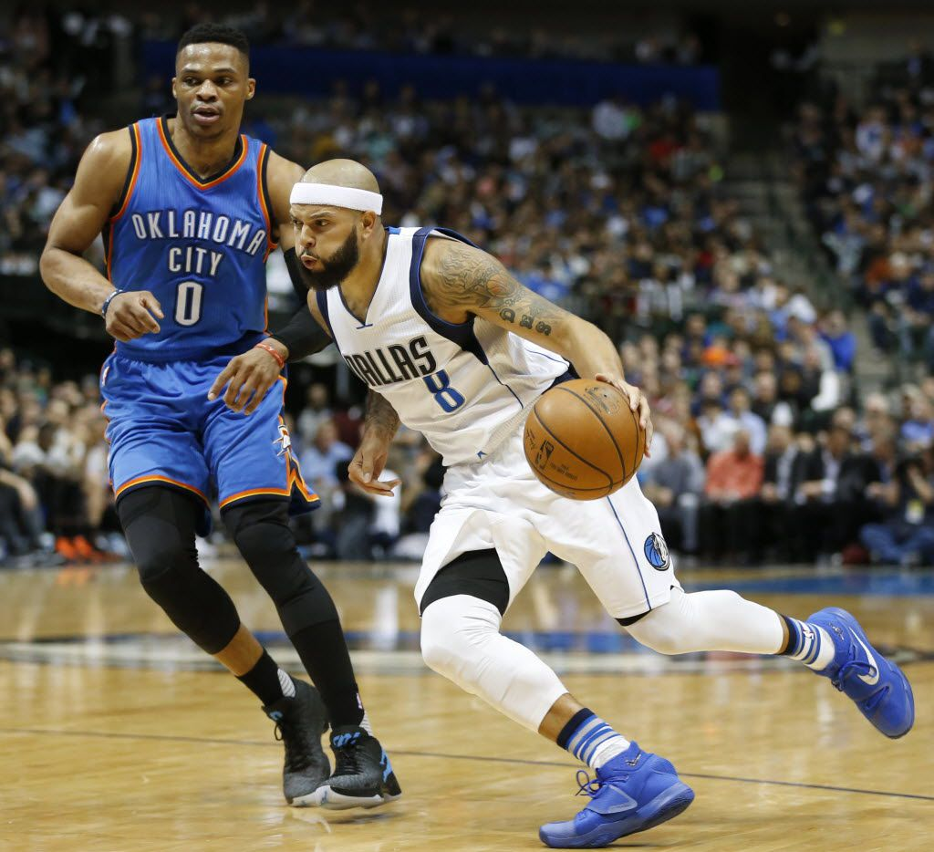 Mavericks guard Deron Williams, shown here driving against Russell Westbrook last season, will have a celebrity dodgeball tournament on Sept. 10. (Vernon Bryant/The Dallas Morning News)