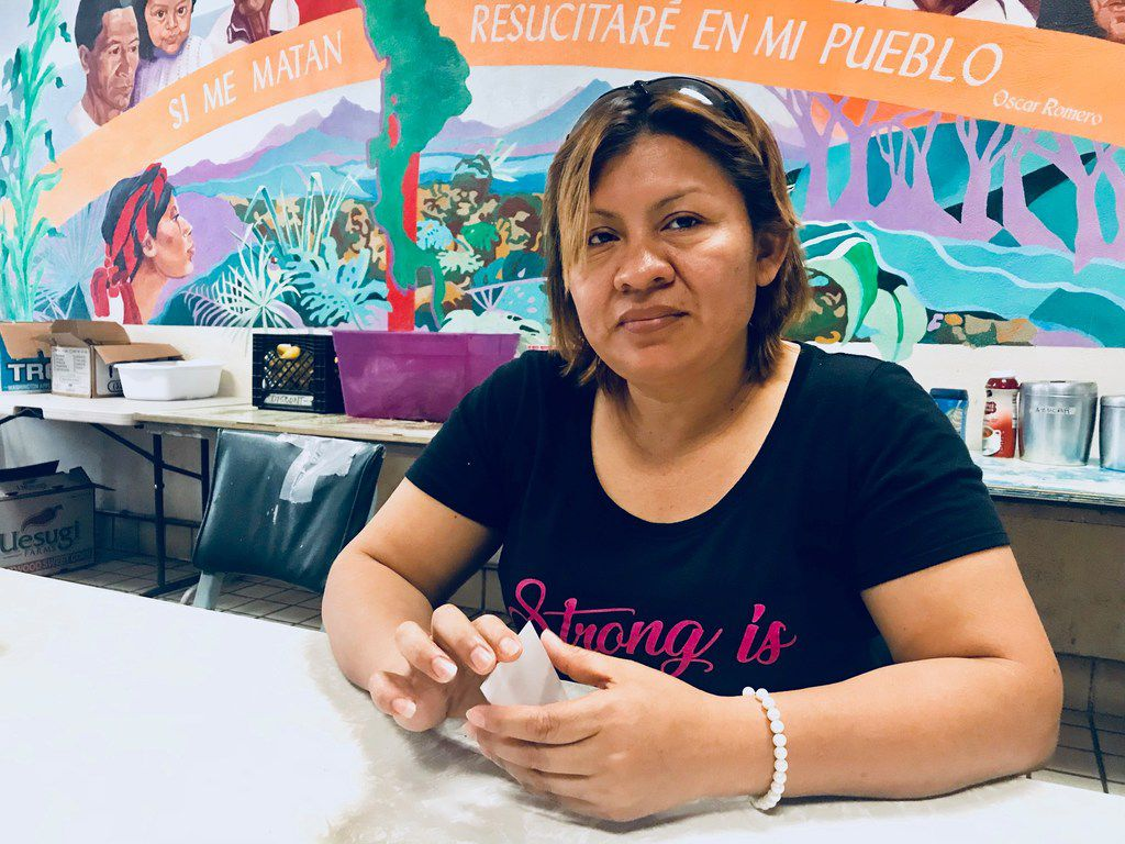 Digna Perez, 37, sits at a shelter in El Paso, waiting to be reunited with her children, William, 9, and Stefania, 6. Both are in federal custody. (Alfredo Corchado/Staff)