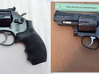 The Dallas Police Department released this image of the replica handgun a man pointed at police before being fatally shot by officers on April 19, 2021. The image on the right is the replica gun, and the image on the left is a real Smith and Wesson revolver.