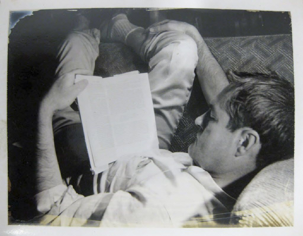 A curled-up Timothy Leary turns his attention to the written word in 1961.