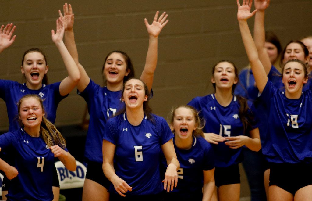 Euphoria prevails along the Trophy Club Byron Nelson bench area following a Lady Bobcats score during the first game of their match against Denton Guyer. Byron Nelson prevailed 25-18, 25-17, 25-16 to advance to the state tournament. The two teams played their Class 6A Region l championship volleyball match at W.G. Thomas Coliseum in Haltom City on November 16, 2019. (Steve Hamm/ Special Contributor)