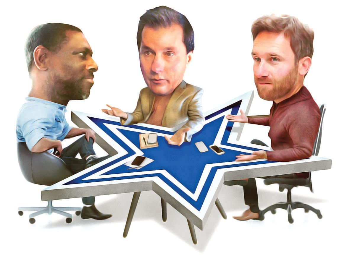 An illustration of The Dallas Morning News' Cowboys beat reporters. From L to R: Calvin Watkins, David Moore and Michael Gehlken.