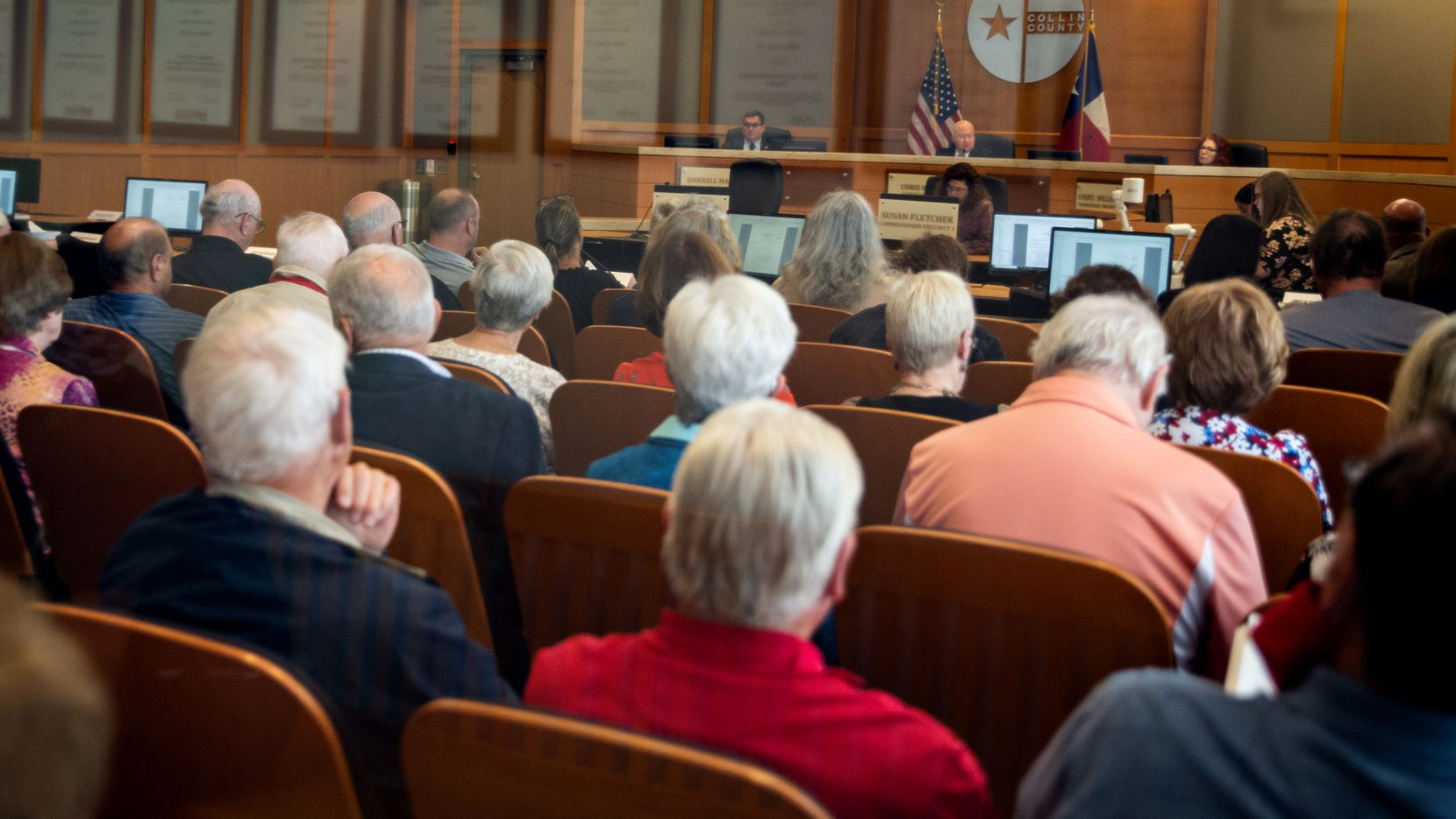 More than a hundred people came to observe and speak at the Collin County Commissioners Court meeting at the Collin County Administration Building in McKinney, TX on Monday, May 24, 2021.