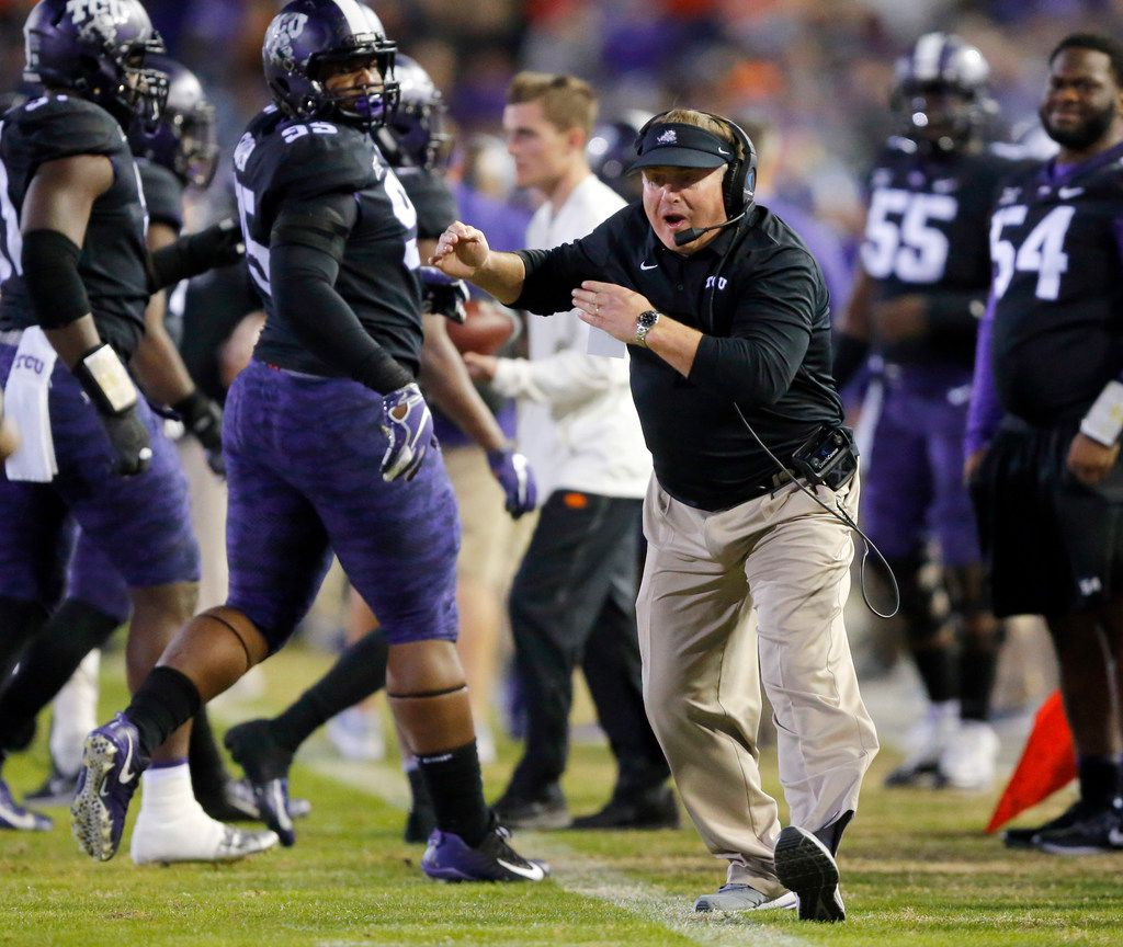 TCU Horned Frogs head coach Gary Patterson yells at one of his players during the second quarter against the Oklahoma State Cowboys at Amon G. Carter Stadium in Fort Worth, Texas, Saturday, November 24, 2018. (Tom Fox/The Dallas Morning News)