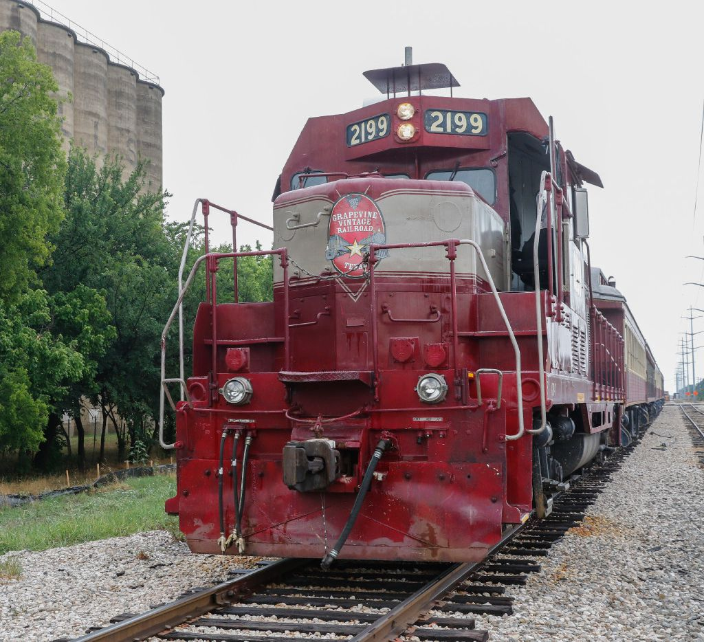 The Grapevine Vintage Railroad prepares to depart downtown Grapevine.