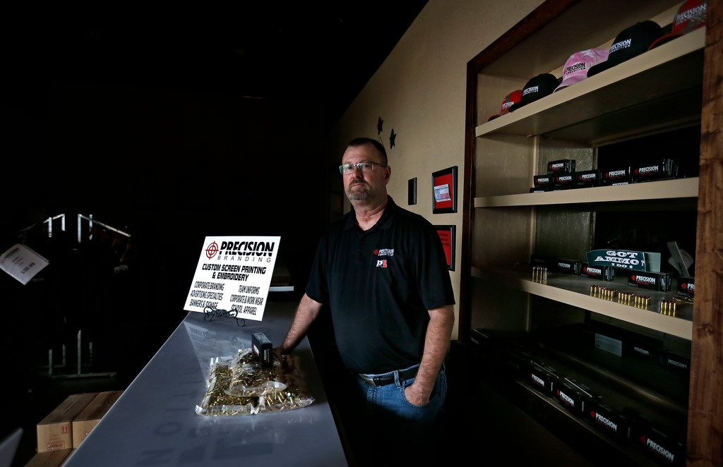 Gary Phillips, co-owner of American Precision Ammunition, inside the company's office in the Peach Building that is under renovation in Mineral Wells.