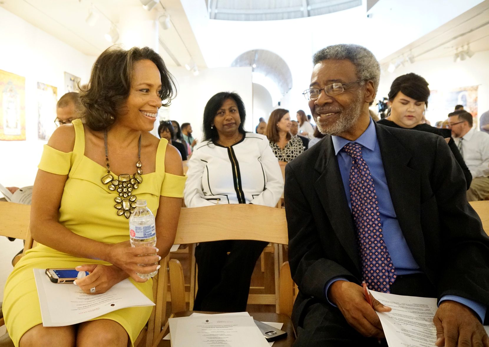 "Gayle Jessup White and Dr. Harry Robinson Jr., president and CEO of the African American Museum at Fair Park, visit at a news conference announcing the exhibit ""Slavery at Jefferson's Monticello: Paradox of Liberty."" (Lawrence Jenkins/Special Contributor)"