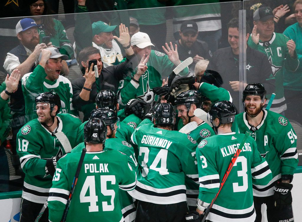 FILE - The Stars celebrate an overtime win over the Tampa Bay Lightning on Monday, Jan. 27, 2020, at American Airlines Center in Dallas.