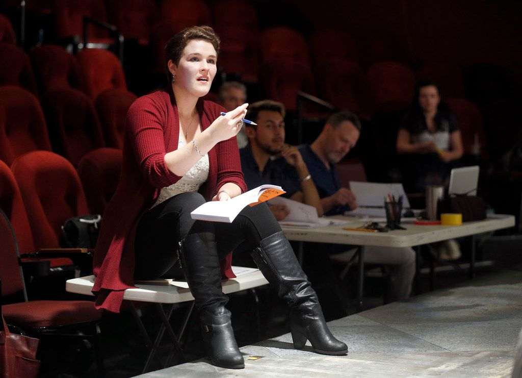 Clare Shaffer directs actresses during a rehearsal of A Doll's House, Part 2 at Stage West Theatre in Fort Worth.