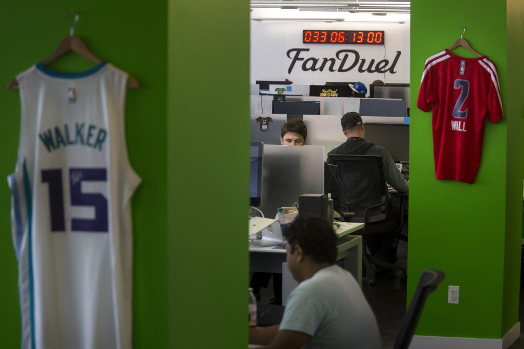 FanDuel employees work at the fantasy sports company's offices in New York. (Michael Nagle/The New York Times)