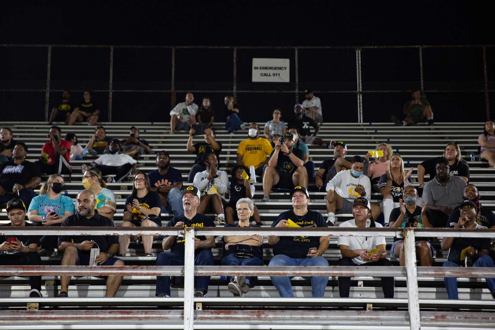 Garland High School fans at Sprague Stadium watch the the season-opening game between Garland High School and Justin F. Kimball High School on August 27, 2021.  (Shelby Tauber/Special Contributor)