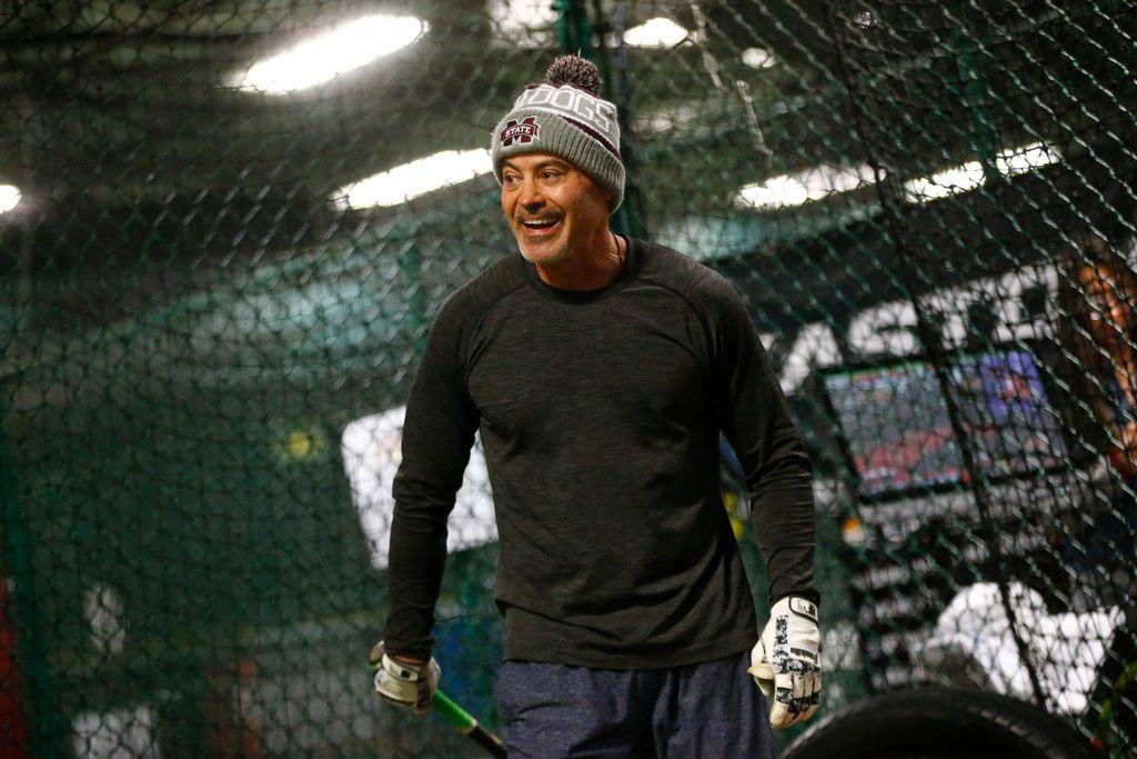 Former Texas Ranger Rafael Palmeiro laughs during batting practice at D-BAT DFW batting cage in Southlake, Texas on Jan. 13, 2018.  (Nathan Hunsinger/The Dallas Morning News)