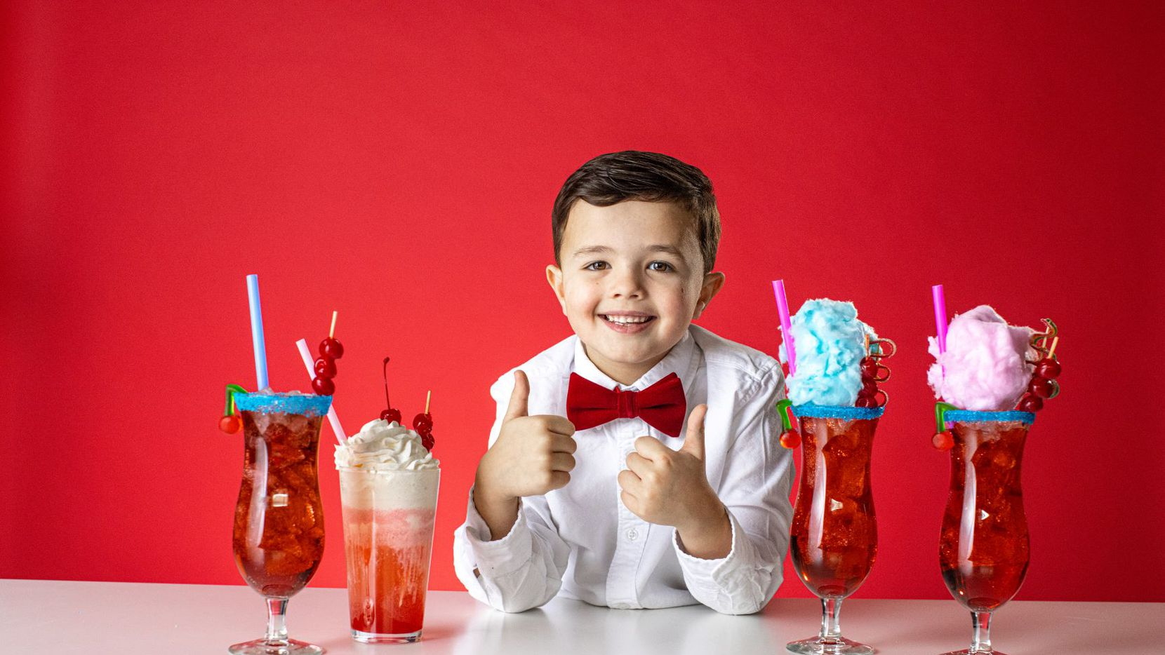 Leo Kelly, the 7-year-old boy known as the Shirley Temple King, created three Shirley Temples for Main Event.