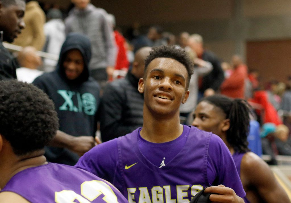 Richardson guard Rylan Griffen (3) was all smiles following the Eagles' 63-51 victory over DeSoto to advance. The two teams played their Class 6A boys bi-district playoff basketball game at Forney High School in Forney on February 24 2020. (Steve Hamm/Special Contributor).