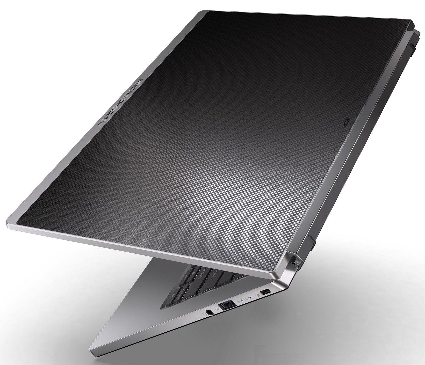 The carbon fiber top case of the Porsche Designs Acer Book RS laptop.