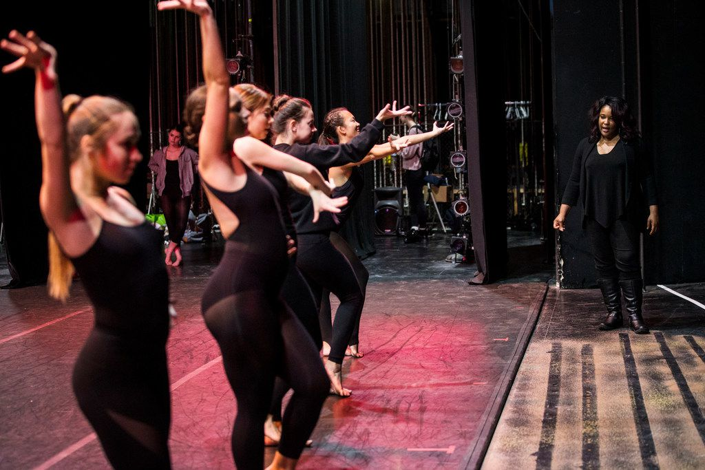 Bridget L. Moore rehearses Southern Methodist University dance students in her new tribute to singer-actress Eartha Kitt.