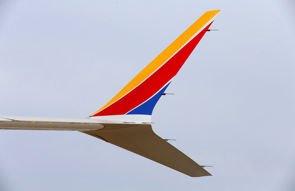 The winglets of Southwest Airlines' new plane, the 737 Max, at headquarters in Dallas, Tuesday, Sept. 12, 2017. (Jae S. Lee/The Dallas Morning News)