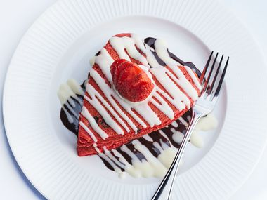 Al Biernat's offers red velvet heart shaped pancakes as part of its Valentine's Day offerings this year.