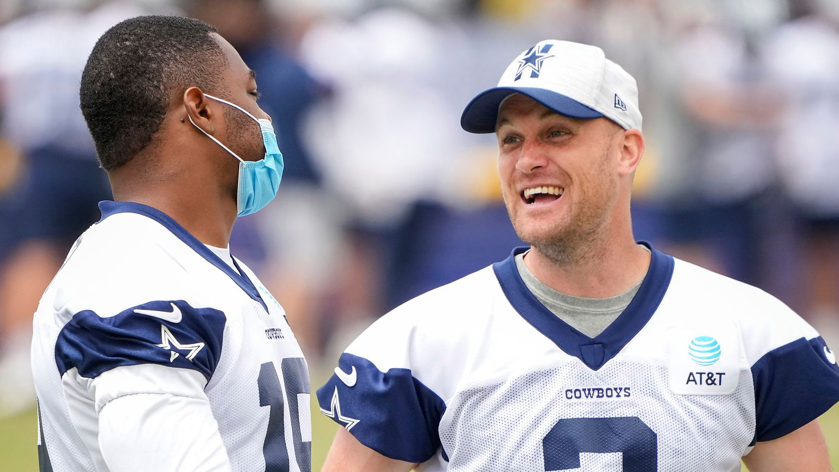 Dallas Cowboys wide receiver Amari Cooper talks with kicker Greg Zuerlein (2) on the sidelines during a practice at training camp on Tuesday, July 27, 2021, in Oxnard, Calif. (Smiley N. Pool/The Dallas Morning News)