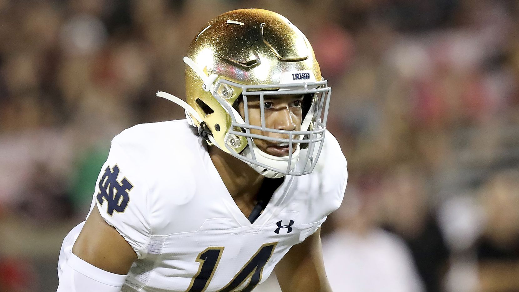 FILE - Notre Dame defensive back Kyle Hamilton is shown during an NCAA football game on Monday, Sept. 2, 2019, in Louisville, Ky.