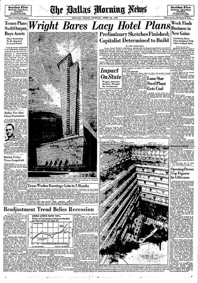 The June 22, 1947 Dallas Morning News, with presentation drawing of Wright's Rogers Lacy Hotel.