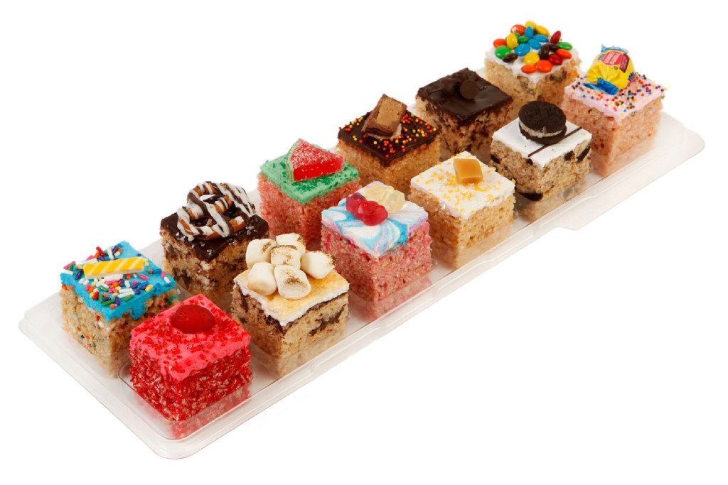 Assorted 12-pack of crispy rice marshmallow treats at Treat House in New York City