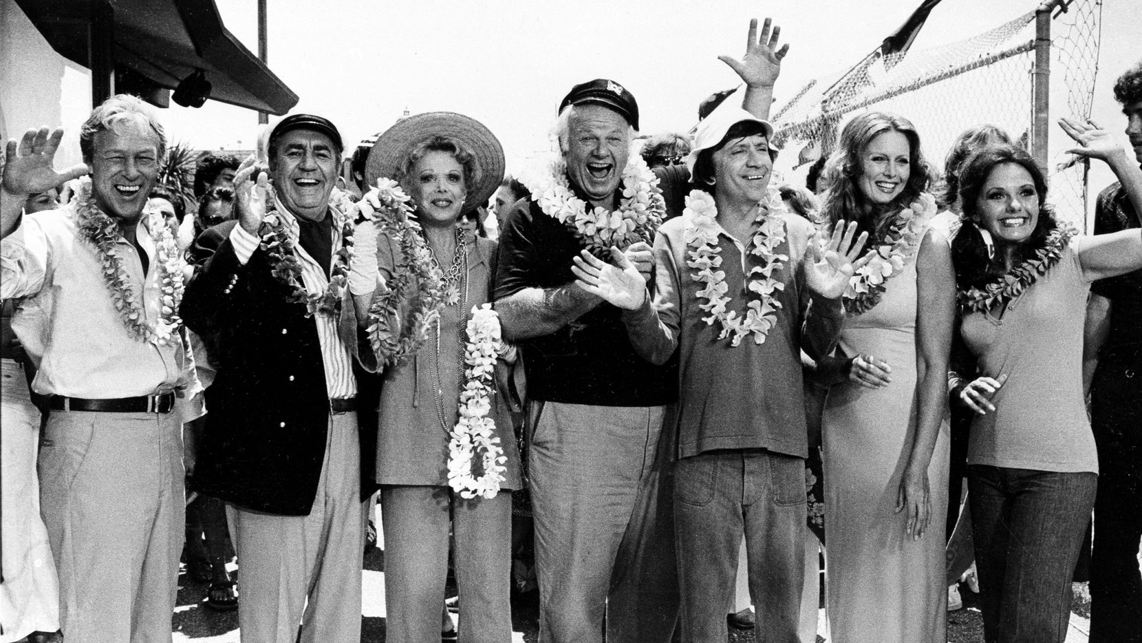 """This Oct. 2, 1978, file photo shows the cast of """"Gilligan's Island."""" Left to right: Russell Johnson, as the professor; Jim Backus as Thurston Howell III; Natalie Schafer, as Mrs. Howell III; Alan Hale Jr., as the skipper; Bob Denver, as Gilligan; Judith Baldwin replacing original cast member Tina Louise, as Ginger; and Dawn Wells, as Mary Ann, posing during filming of a two-hour reunion show, """"The Return from Gilligan's Island."""""""