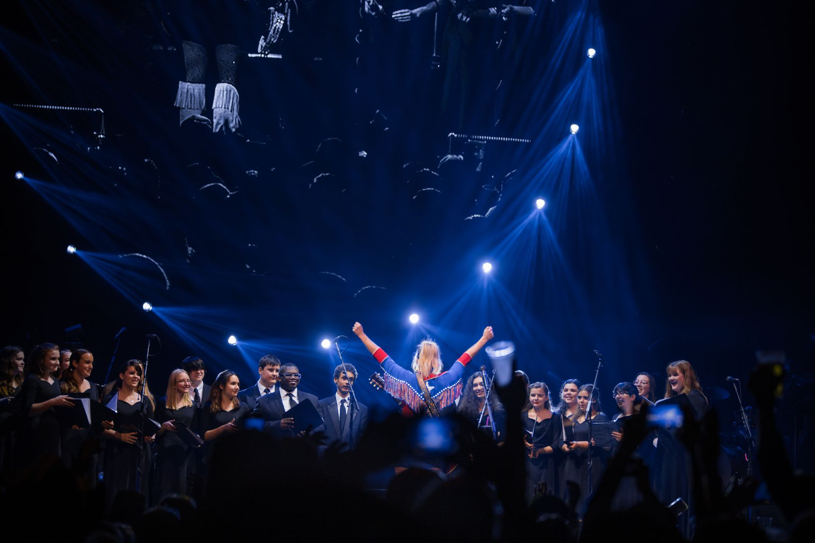 Miranda Lambert performs with members of the Lindale High School choir at American Airlines Center on Feb. 8, 2020 in Dallas.