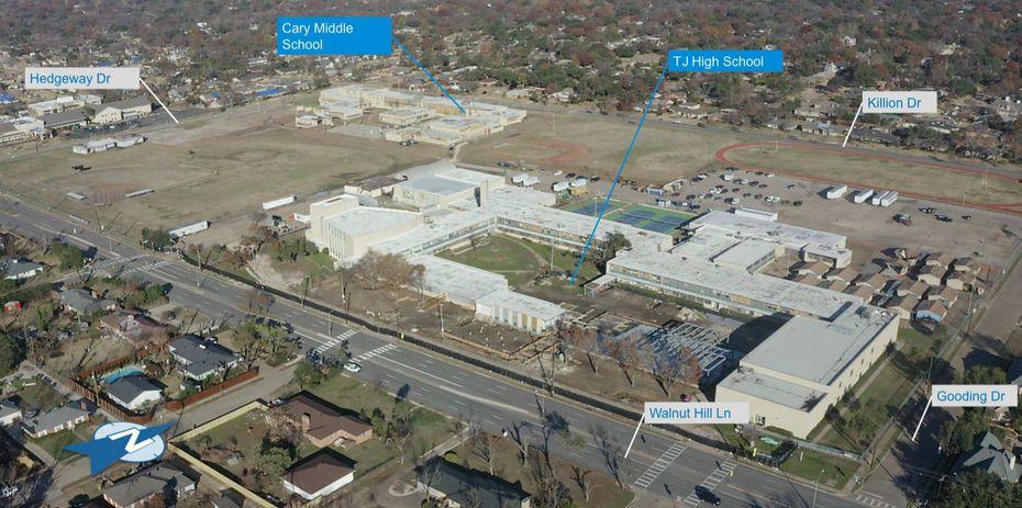 Esta es la conformación actual del campus de escuelas de Northwest Dallas que fue afectada por el tornado.