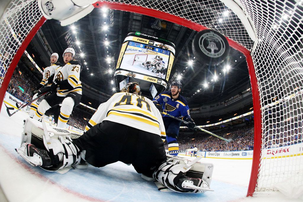 ST LOUIS, MISSOURI - JUNE 01:  Ivan Barbashev #49 (not pictured) of the St. Louis Blues scores a second period goal past Tuukka Rask #40 of the Boston Bruins in Game Three of the 2019 NHL Stanley Cup Final at Enterprise Center on June 01, 2019 in St Louis, Missouri. (Photo by Bruce Bennett/Getty Images) ***BESTPIX***
