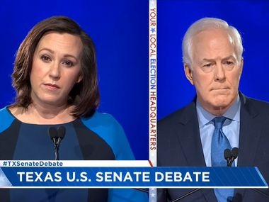 Silicon Valley billionaires are bankrolling a $28 million deluge of late television ads to help Democrat MJ Hegar (left) oust three-term GOP Sen. John Cornyn, the news site Recode reported Tuesday. The rivals are shown in a screen grab from their  Oct. 7 debate in Austin.