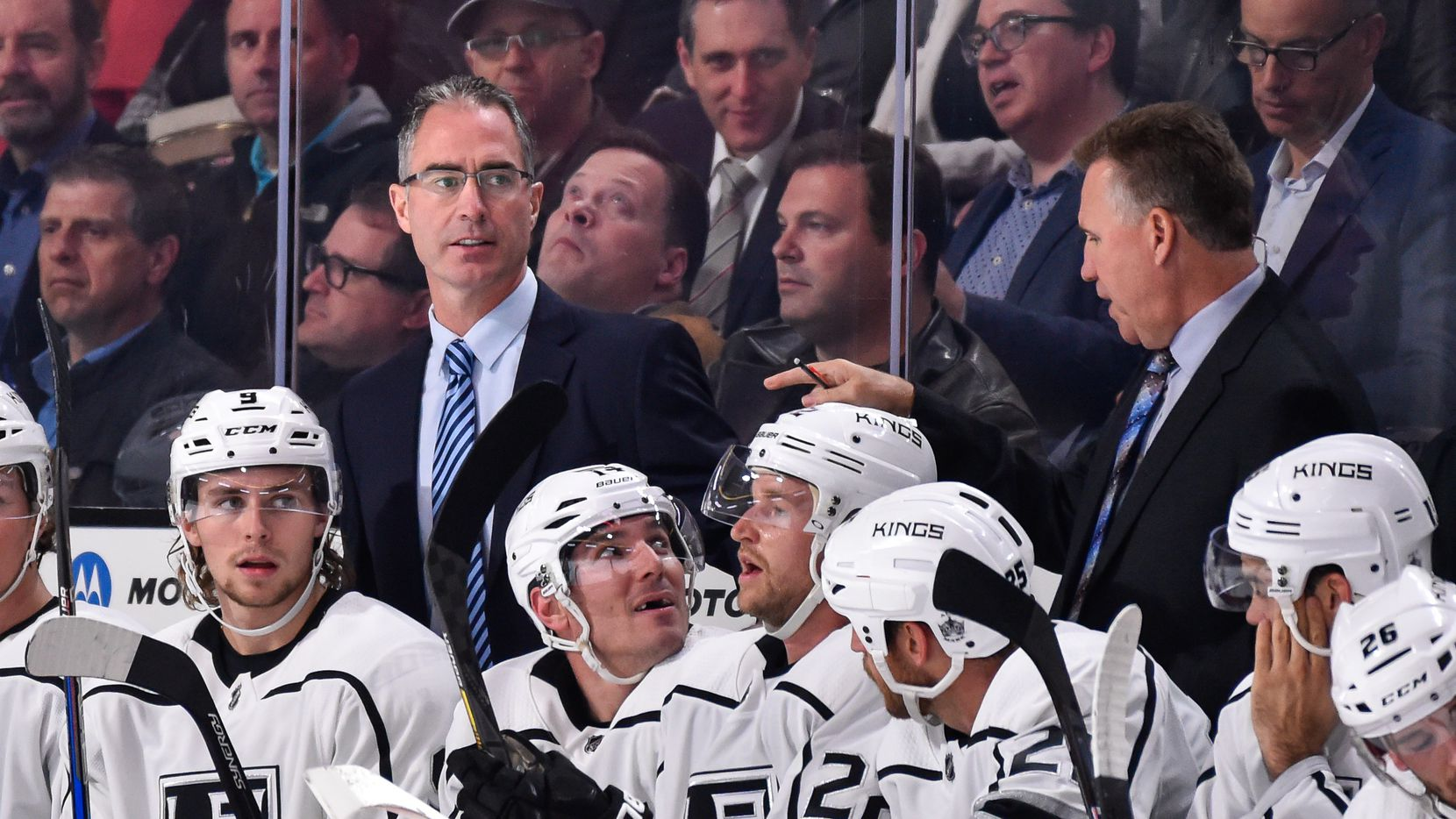 MONTREAL, QC - OCTOBER 26:  Head coach of the Los Angeles Kings John Stevens looks on from the bench against the Montreal Canadiens during the NHL game at the Bell Centre on October 26, 2017 in Montreal, Quebec, Canada.  The Los Angeles Kings defeated the Montreal Canadiens 4-0.  (Photo by Minas Panagiotakis/Getty Images)