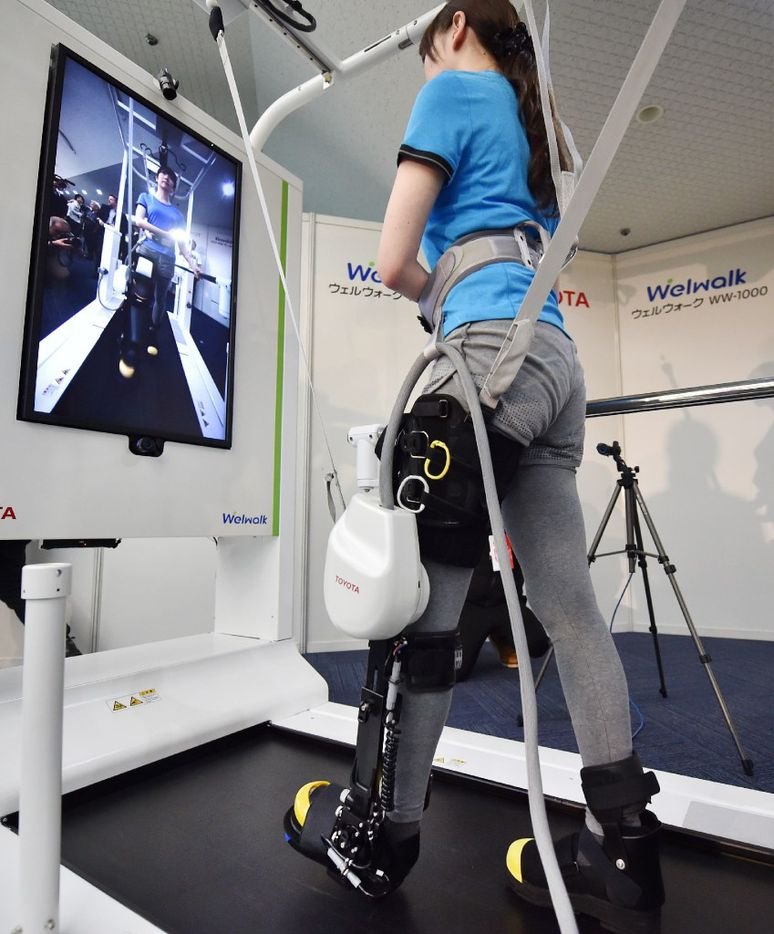 The Welwalk WW-1000 is designed to aid in the rehabilitation of individuals with lower limb paralysis as a result of stroke and other causes. (Agence France-Presse)