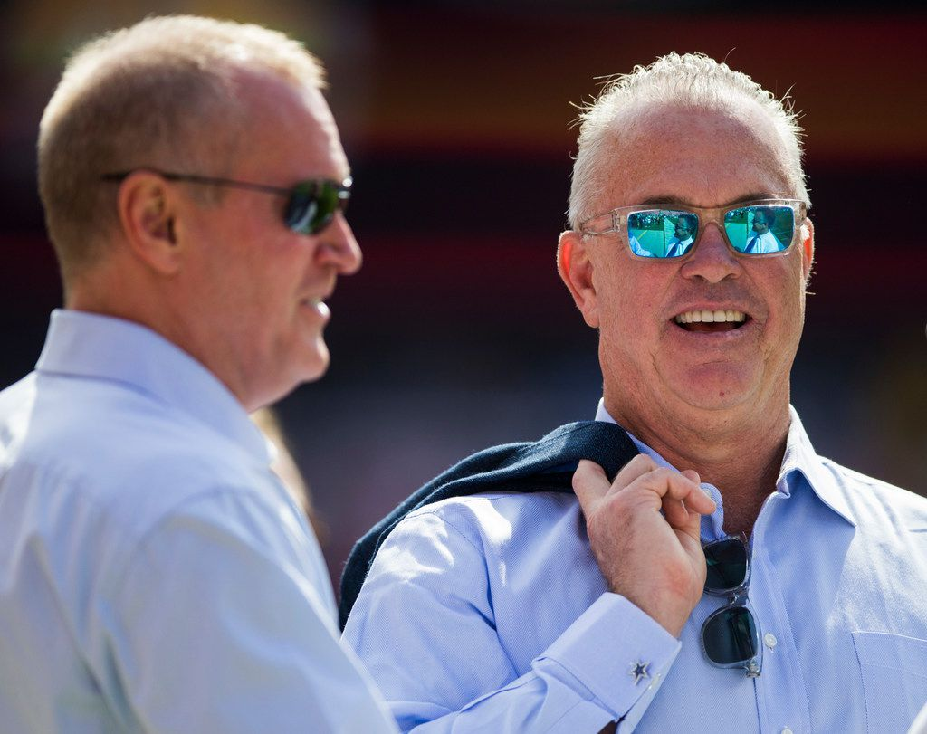 Dallas Cowboys Chief Sales and Marketing Officer and Executive Vice President Jerry Jones Jr. (left) and Executive Vice President, CEO, and Director of Player Personnel Stephen Jones stand on the sideline on Sunday, September 15, 2019 at FedExField in Landover, Maryland.
