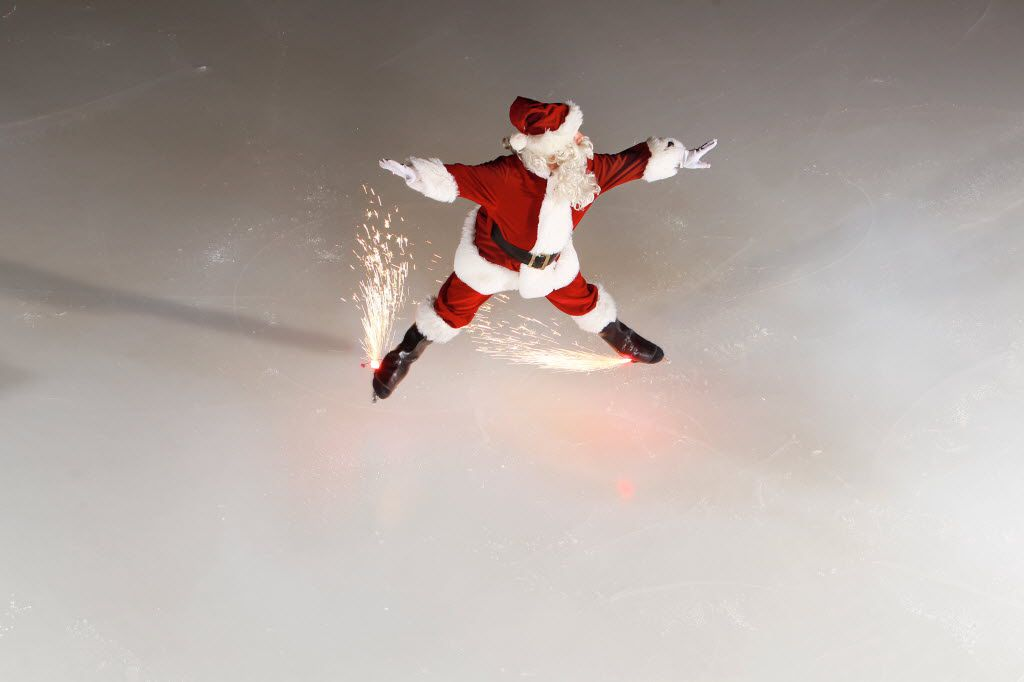 Missile Toes is the skating Santa who performs during the Christmas season with fireworks on his skates.
