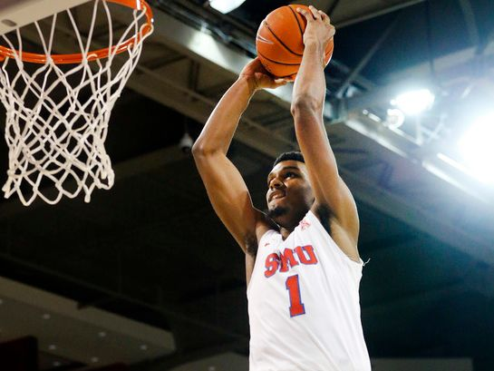 Southern Methodist Mustangs forward Feron Hunt (1) throws down a break away dunk against the Jacksonville State Gamecocks during the first half at Moody Coliseum  in University Park, Texas, Tuesday, November 5, 2019.