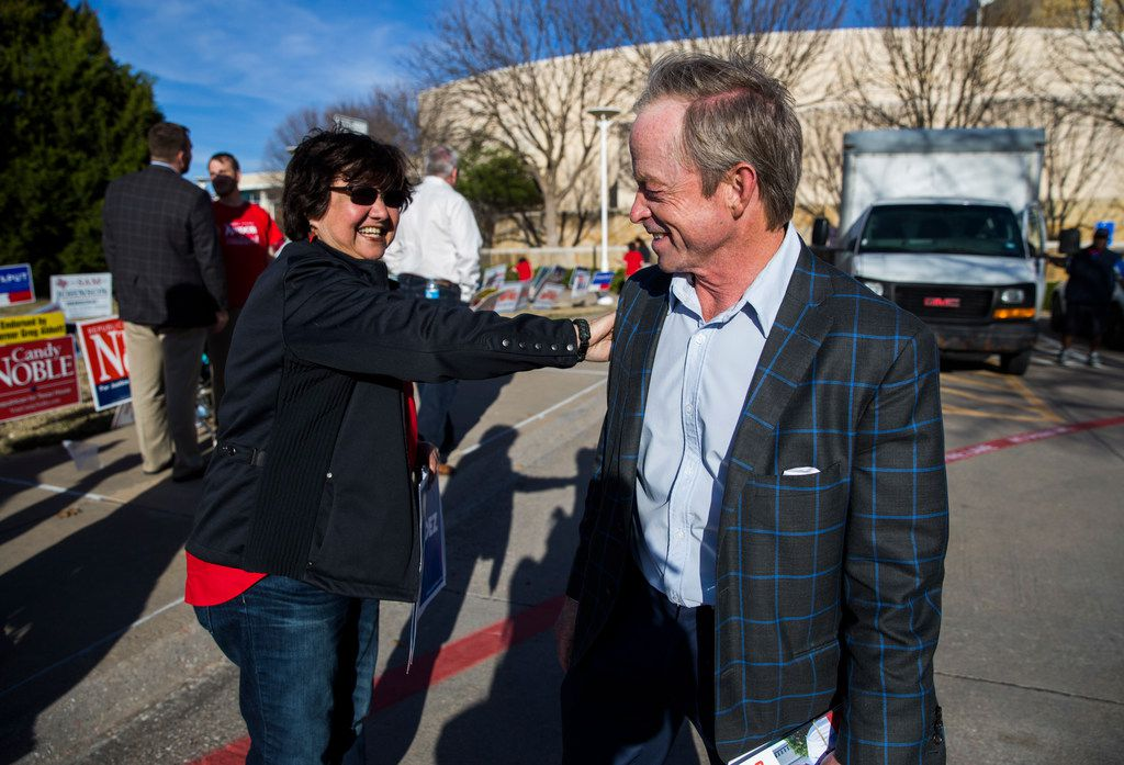 Gubernatorial candidate and former Dallas Sheriff Lupe Valdez greets Phillip Huffines, who is running for Texas Senate, outside a polling place at Allen City Hall and  on primary election day on Tuesday, March 6, 2018 in Allen, Texas.
