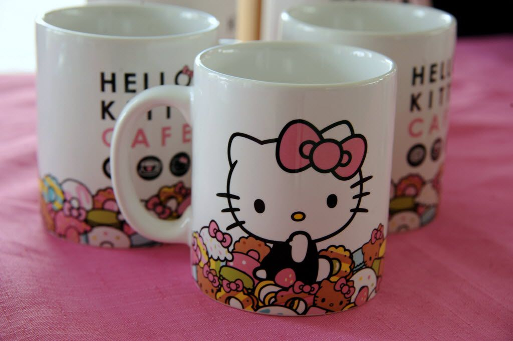 Fans can purchase coffee mugs at the Hello Kitty Cafe Truck at The Shops at Willow Bend in Plano, TX on March 12, 2016. (Alexandra Olivia/ Special Contributor)