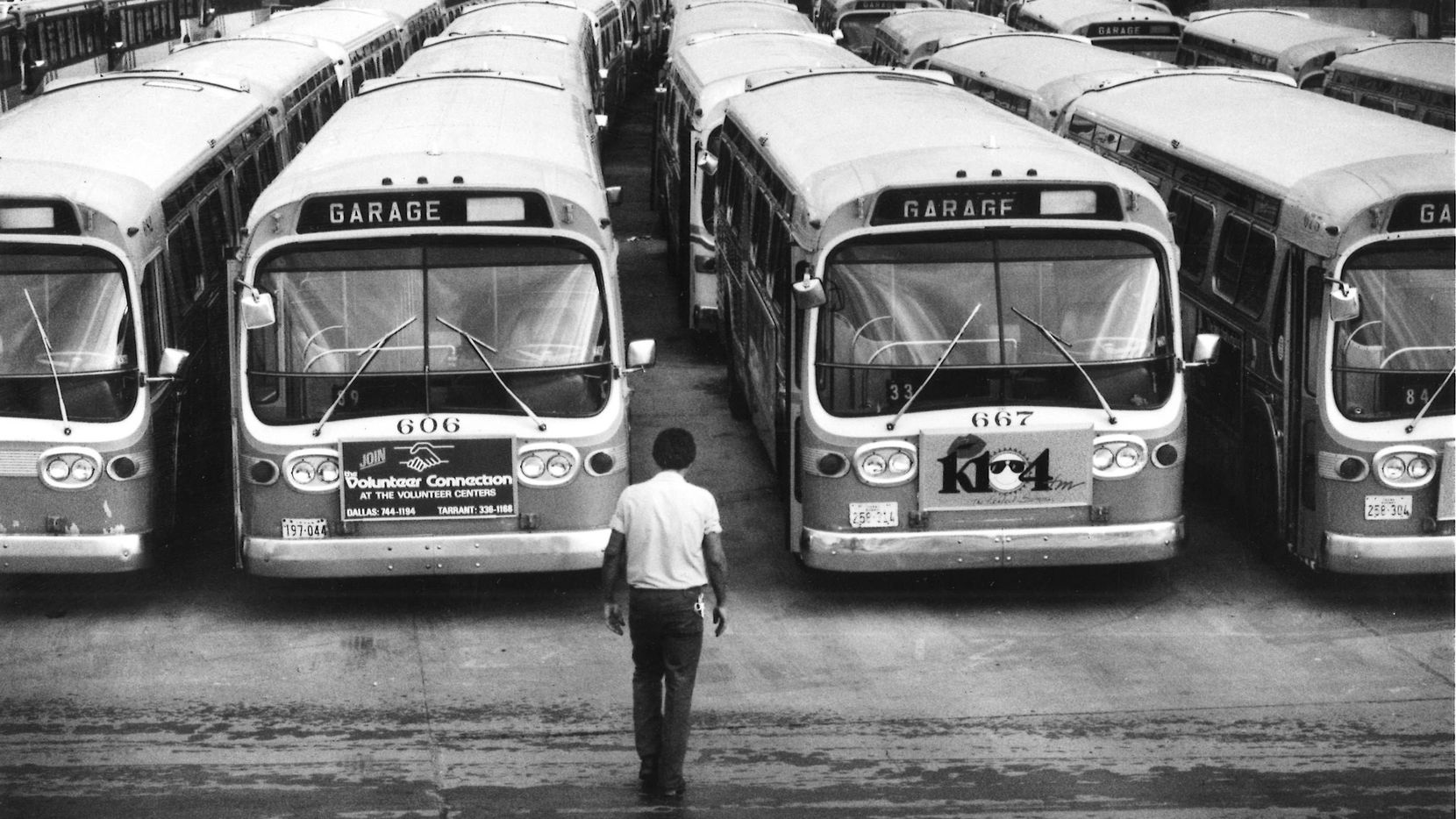 DART buses at a garage off of I-35 south of Dallas.