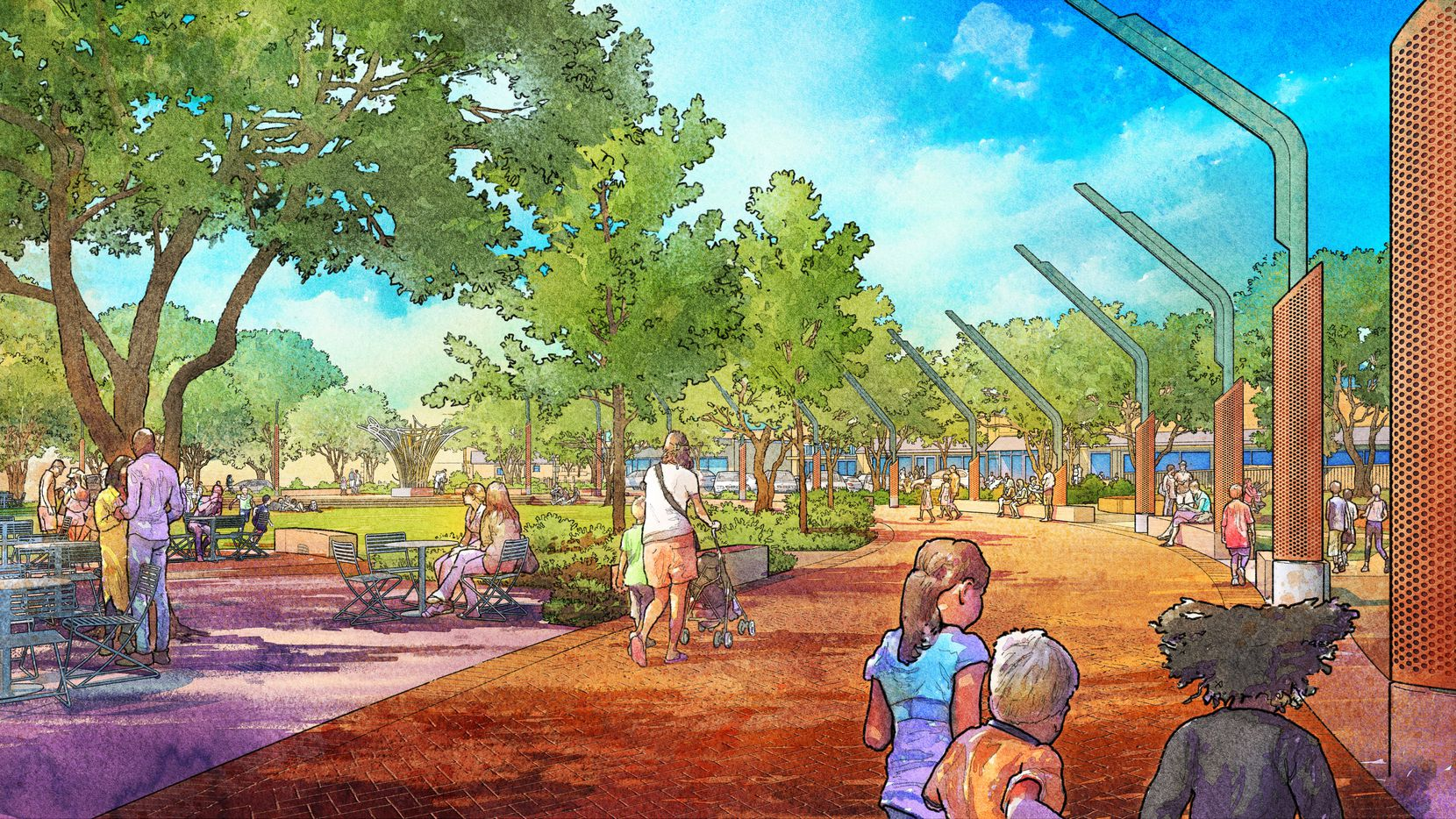 New renderings show how the city of Garland hopes to redevelop its downtown square to include a walkway and new lighting, among other features.