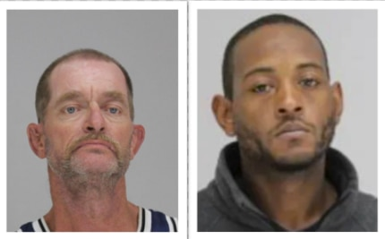 Curtis Blackwell, 48, at left, was charged with capital murder in the death of 68-year-old Clark Thomas, who died July 17 after a violent physical altercation in South Dallas. Martell Lamar Edwards, right, remains at large.