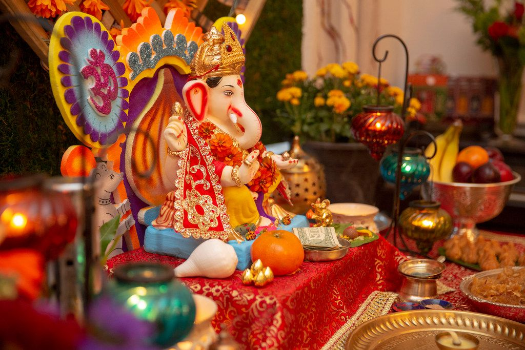 The Ganesha is on display at Sapna Punjabi-Gupta's Ganesha Chaturthi celebration and dinner at her home in Irving.